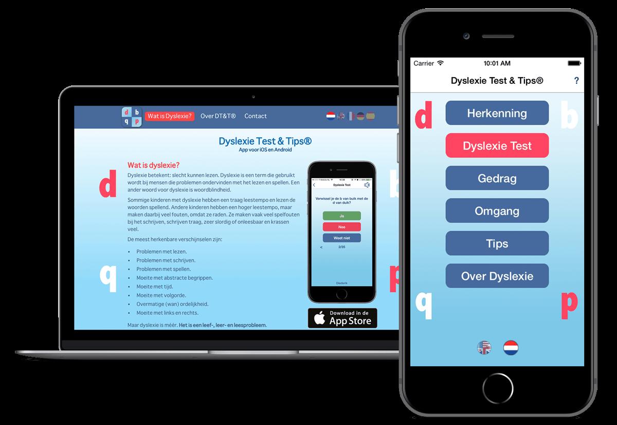 Dyslexie test & tips app en website